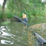 A Flexible Pond Leveler being installed...